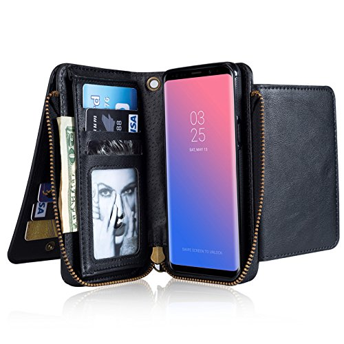 INorton Galaxy S9 Plus Case, Zipper Magnetic Wallet Purse Case with Card Slots and Money Pocket, Retro Vintage Stand Smart Phone Sleeve for Galaxy S9 Plus by INorton
