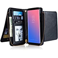 INorton Galaxy S9 Plus Case, Zipper Magnetic Wallet Purse Case with Card Slots and Money Pocket, Retro Vintage Stand Smart Phone Sleeve for Galaxy S9 Plus