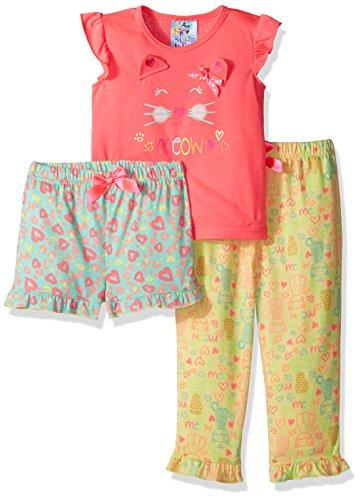 Baby Bunz Toddler Girls' Meow 3 Pc Sleepwear Sets