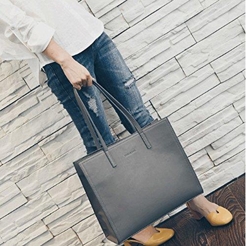 GuoFeng Bolsos de Temperamento, Bolso de Hombro, Bolso, Bolsos Salvajes, Bolso Casual Simple de la Moda Europea y Americana. (Color : Black) Gray