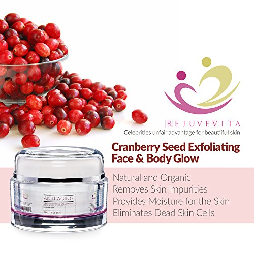 Cranberry Anti Aging Seed Exfoliating Face & Body Glow, 4 Oz. White Jar, 19 Oz. Professional Size Jar – the Ultimate Facial Scrub for Exfoliating, Organic Facial Mask + Facial - Scrub Body Cranberry