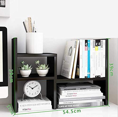 Desk Bookshelf Organizer Wood Adjustable Office Countertop Storage Rack Wood Display Rack Desktop Organizer Black