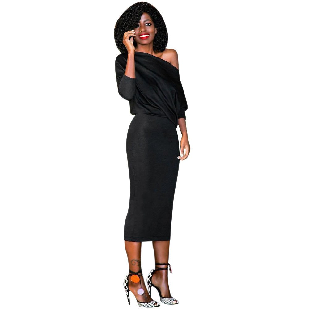 Maxi Dress, Challyhope Women Fashion Cold Shoulder Long Sleeve Cocktail Party Dress (M, Black)
