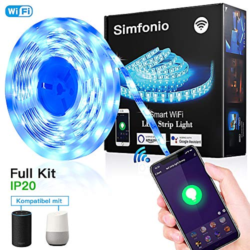 Simfonio Smart LED Streifen 5M – WIFI LED Lichterkette steuerbar via APP,Stimme – LED Leiste 5m 5050SMD 150LED RGB LED…