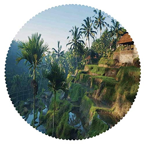 iPrint Multicolor Round Tablecloth [ Balinese Decor,Terrace Rice Fields Palm Trees Traditional Farmhouse Morning Sunrise View Bali Indonesia,Green ] Fabric Home Decor Set