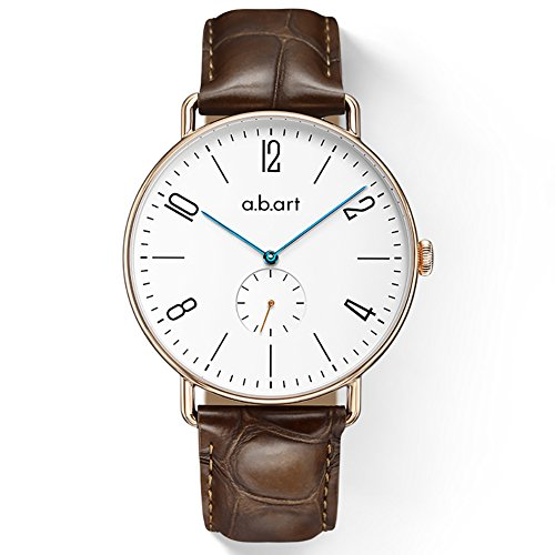 a.b.art FN41-001-17L Roman Numerals 316L Rose Gold Crystal Sapphire Case Slim Bracelet Bauhaus Style Wrist Watch by a.b.art (Image #5)