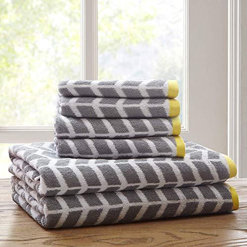 - Intelligent Design - Nadia Quick Dry, Premium Absorbent Chevron Cotton Towels Bath/Bathroom Set - Ultra Soft Bathroom Towels Set - Gray - 6 Piece Set incl. 2 Shower Towel 4 Hand Towel (Renewed)