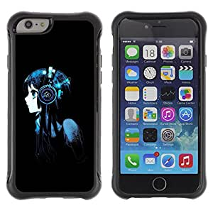 Be-Star único patrón Impacto Shock - Absorción y Anti-Arañazos Funda Carcasa Case Bumper Para Apple iPhone 6 Plus(5.5 inches)( Beautiful Anime Headphones Girl )