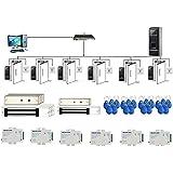 6 Doors Bio Fingerprint & PIN Time Attandance Access Control System 600lbs electromagnetic Lock Power Supply RFID Keyfods Exit