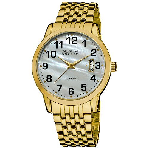 (August Steiner Men's ASA826YG Automatic Mother Of Pearl Bracelet Watch)