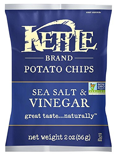 Kettle Brand Potato Chips, Sea Salt & Vinegar, 2 Ounce Bags (Pack of 24)