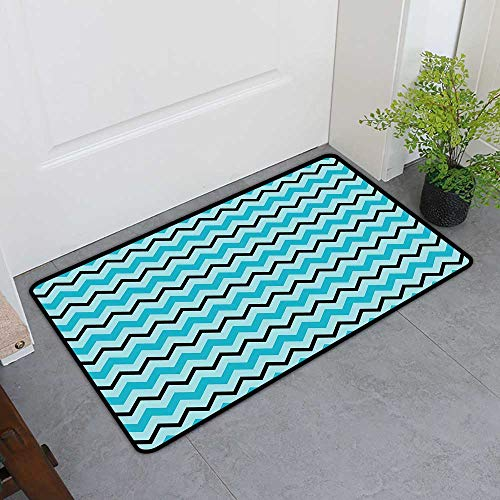 TableCovers&Home Magic Non Slip Door Mat, Seafoam Indoor Out-Imdoor Rugs for Kids Room, Herringbone Zigzag Lines Geometric Illustration Retro Inspirations Chevron (Seafoam Blue Black, H20 x W32)