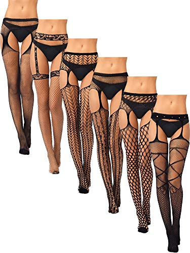 Skylety 6 Pairs Women Suspender Pantyhose Stockings Black Fishnet Tights Stretchy Thigh High Stockings for Dress up Favors