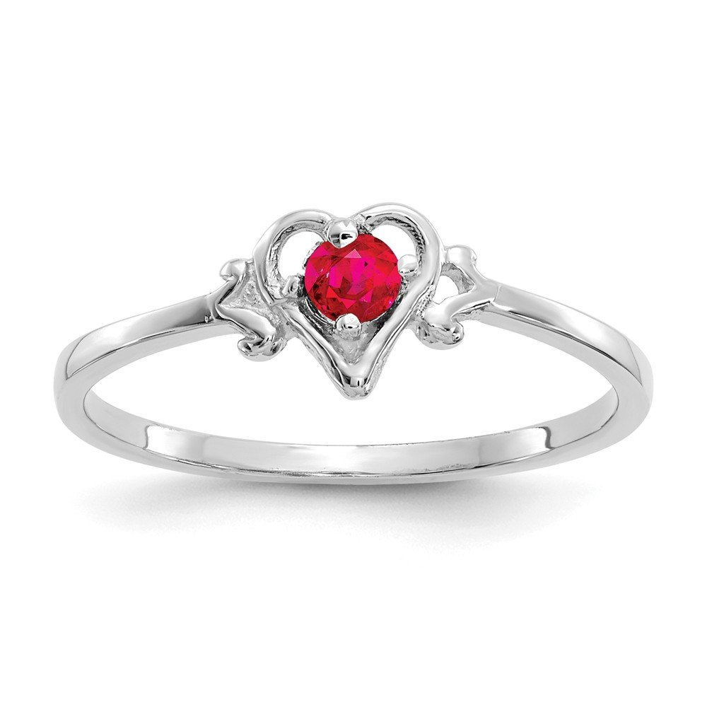 14k White Gold Red Ruby Birthstone Heart Band Ring Size 7.00 S/love July Fine Jewelry Gifts For Women For Her
