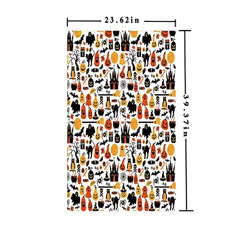 Window Films Privacy decorate 3D No Glue Static,Halloween Icons Collection Candies Owls Castles Ghosts October 31 Theme Decorative,W15.7xL63in,For Bathroom Bedroom Living Room with Orange Yellow -
