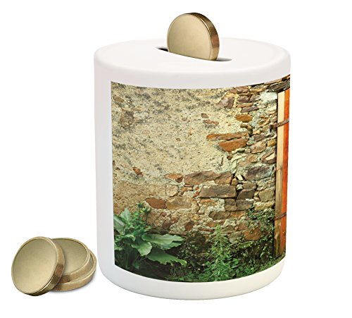 by Ambesonne, Old Fashion Country House French Entrance Stone Wall Farmhouse Picture Print, Printed Ceramic Coin Bank Money Box for Cash Saving, Orange Green (Farm Entrance)