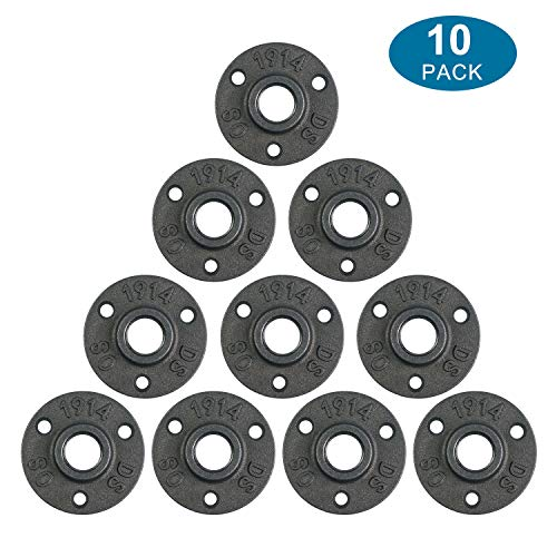10Pcs 1/2-INCH Floor Flange Industrial Steel Malleable Cast Iron Pipe Fittings Retro Decor Furniture DIY BSP Threaded Hole By E-UNIONA ()