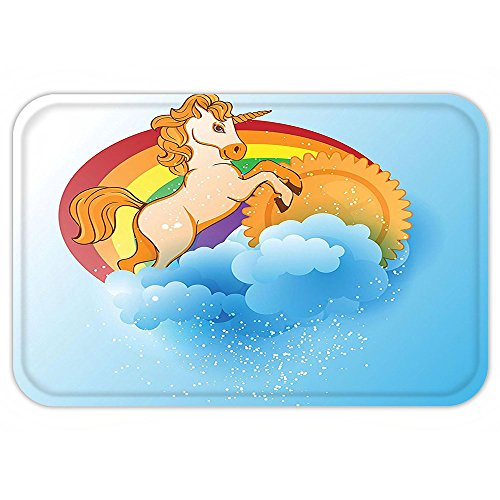 Kisscase Custom Door MatUnicorn Home and KidDecor Unicorn with a Single Horn Forehead on Sun Fluffy CloudArt Print (Forehead Horn)