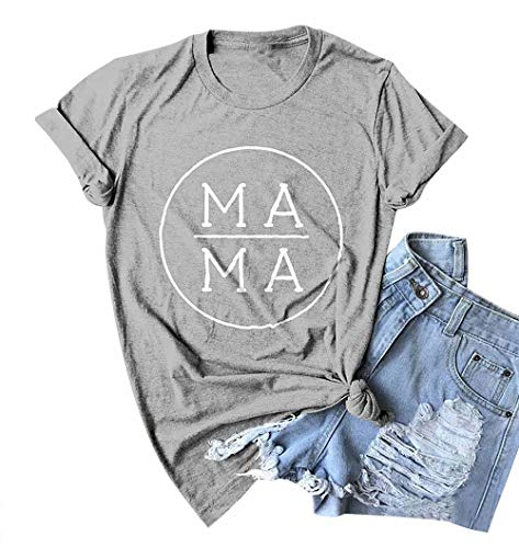 EGELEXY Mother's Day Women's Mama Letter Printed Short Sleeve Graphic Tops Tee Casual T-Shirt Blouse Size M - T-shirt Boy Mamas