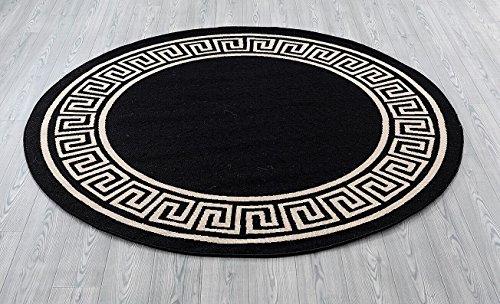 - Great American Distributors Impressions Collection Greek Key Area Rug, Black