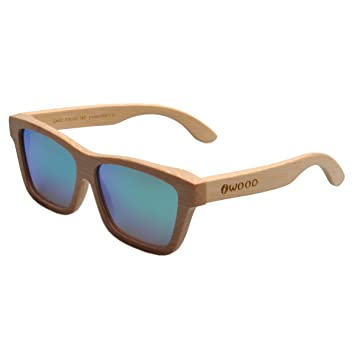 Iwood Artesanal de bambú natural Marcos polarizado lente verde gafas de sol de madera