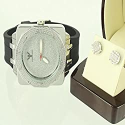 Diamond Bezel Custom Bling King Techno Star Men Earring Watch Set Solid Silver