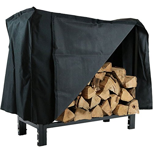 Sunnydaze 30 Inch Indoor/Outdoor Black Steel Firewood Log Rack and Cover Combo (Cord 2 Rack Wood 1)