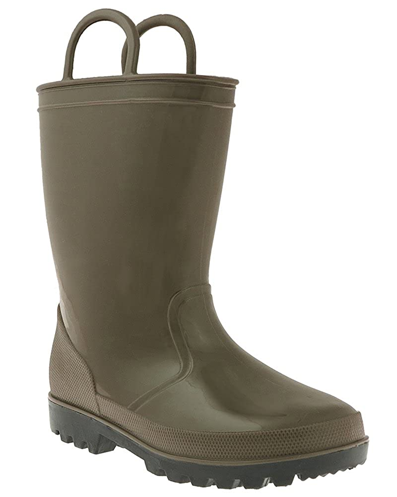Capelli New York Toddler Boys Shiny Solid Colored Jelly Rain Boot With Handles TRB-1059