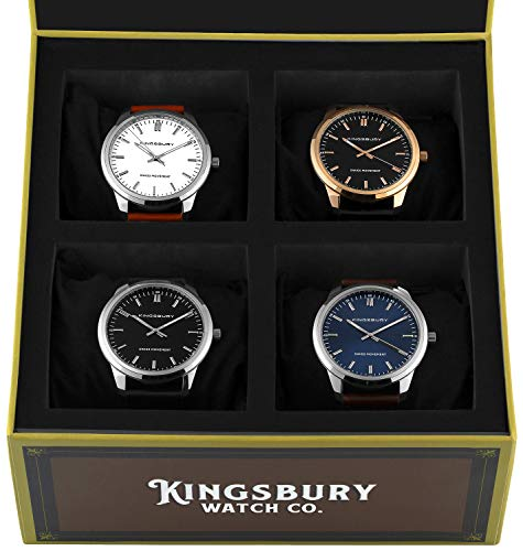 - Men's Watch Set with 4 Watches and Swiss Made Movements Minimalist Watch Design for Men - Kingsbury Cigar Box