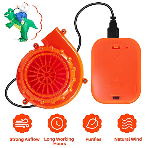 Orange Mini Fan Blower for Costume & Mascot Head Powered by USB Cable or 6V Battery