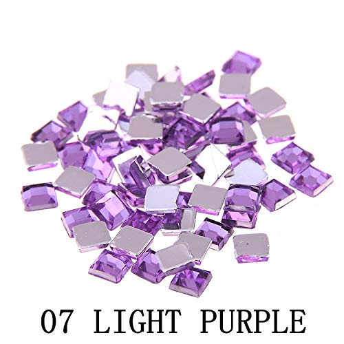 Nail Rhinestones FlatBack Square 2mm 4mm 6mm Mixed sizes 4g About 180pcs For Crafts Scrapbooking Clothes Nail Art Decoration,07 light purple ()