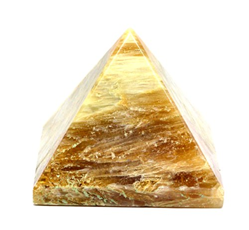 Cat Healing Stone Rose (Natural Gemstone Cat's Eye Pyramid Hand Carved Pyramid 45-50mm Polished Pyramid Crystals Healing Individually Energy Charged Very Effective Good Luck Begins)