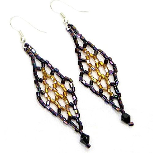 (Tribal Handmade beaded Iris Black Brown Cut Seed Bead big Earrings 30/7)