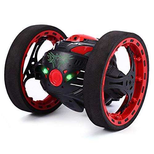 AKYUHER72 2.4GHz Wireless Remote Control Jumping RC Toy Cars Bounce Car Shockproof LED Smart Night Lights with Fexible Tire and Space Restrictions for Kids(Black)