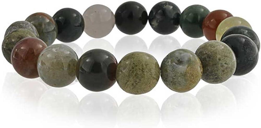 Bling Jewelry Multi Color Marrón Tierra Piedra Redonda Abalorios Jasper Estiramiento De Pulsera Mujer Y para Los Hombres 10 Mm