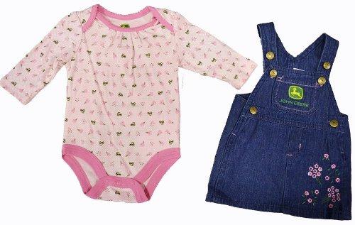 John Deere Denim Skirtall Pink 2 Piece Baby Layette Set (9 Month)