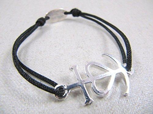167a3ac591e Bracelet cordon tréssé croix de camargue 18x24mm finition argent 925 ...