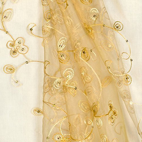 Gold Sequin Embroidered Organza Fabric - By the Yard