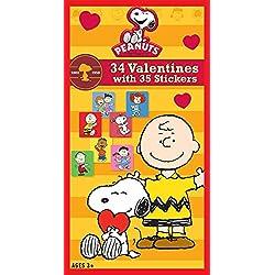 Paper Magic Peanuts Deluxe Valentine Exchange Cards with Bonus Stickers (34 Count)