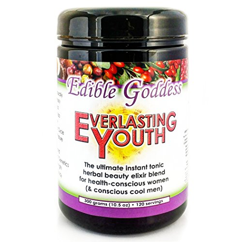Everlasting Youth, Ultimate Instant Tonic Herbal Beauty & Vitality Elixir Blend for Health Conscious Women, 60 servings, 300g (10.5oz) by Edible Goddess