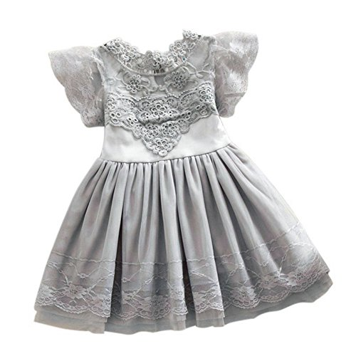 2Bunnies Girls Baby Girls Vintage Lace Eyelet Floral Puff Sleeve Party Princess Pageant Dresses (Gray, (Lace Princess Sleeves)
