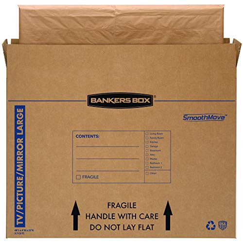 Bankers Box SmoothMove TV/Picture/Mirror Moving Box, Large, 48 x 4 x 33 Inches, 4 Pack (7711301)