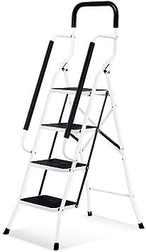Rziioo Escalera portátil Antideslizante de 4 escalones con Pedal Ancho y pasamanos Resistentes Taburete Plegable de Acero de Seguridad Safty: Amazon.es: Deportes y aire libre
