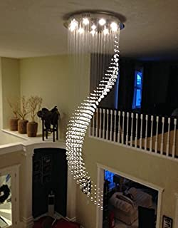 Poersi spiral chandelier staircase lighting spiral crystal siljoy w315 x h102 staircase crystal pendant light high ceiling lamp spiral aloadofball Images