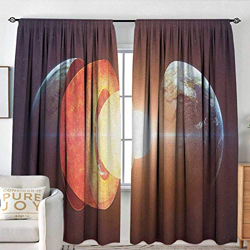 Blackout Thermal Insulated Window Curtain Valance Earth,Core of The Earth Structure Burning Magma Geomagnetic Tectonic Split, Orange Pale Yellow Indigo,Rod Pocket Valances ()