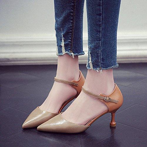 A Señaló Primavera Solo Fina De Zapatos Zapatos Alto Shoes GAOLIM Colilla Una Comienzos Heel La Adolescentes El Mujer Con De Caqui Para Ranurados gx7qTA