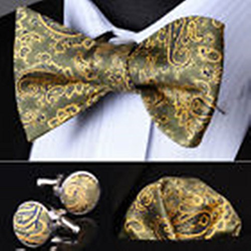 Olive Martini Costume (Mondaily DL14T Olive Gold Paisley Men Silk Self Bow Tie handkerchief Cufflinks set #PPTE4360)