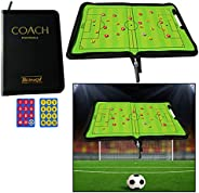 OFKPO Foldable Football Coach Magnetic Board with Pen Dry Erase Soccer Teaching Clip Coaching Clipboard Foldab