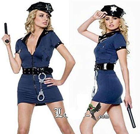 CH & CH azules Uniforme de la Policía de agente de policía equipado Zip Halloween Party parte Instalaciones – Service: Amazon.es: Hogar