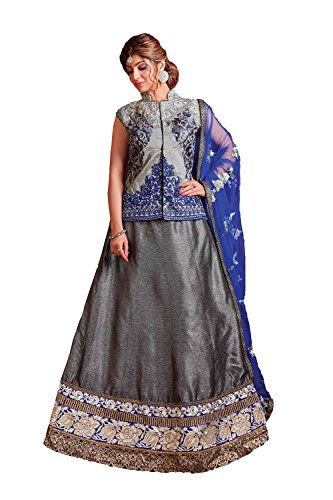 Da Facioun Womens Fancy Fabric Grey Pretty Circular Lehenga Style 79616